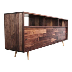 "Jeremiah Collection - Record Storage Console, 48 W X 27.5 H X 16 D - This console is perfect for the avid record collector. A sleek, subtle and elegant design. Made with solid Walnut and a hand rubbed finish. The top cubbies are 7"" high and the bottom cubbies are 13"" with sliding doors."