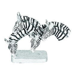 """Benzara - Polystone Grazing Zebras with Wild Life Blend - The small table or shelf spaces in office and home filled with nice looking sculptures support the interior decoration with unique natural blend. 35108 Polystone Grazing Zebras is one of those.; Material: Polystone; Color: Black and white with rectangular stand; Unique table decor with wild life blend; Impressive; Affordable option for customized gift; Dimensions: 15""""W x 11""""H"""
