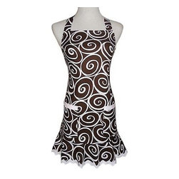 Espresso Swirl Apron - Love this whirly apron that is brown and white with a little cute edge at the bottom. Adorable.