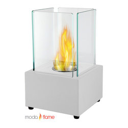 Moda Flame - Moda Flame Pavilion Table Top Firepit Bio Ethanol Fireplace in White - Table Top Firepit Bio Ethanol Fireplace in White belongs to Pavilion Collection by Moda Flame Forget about candles and other table top accents to add ambiance. The Pavilion Tabletop Firepit Bio Ethanol Fireplace offers the elegance and ambiance you have been looking for. The sleek ventless tabletop modern real flames fireplace offers a real fire that is portable to any room and outdoors. The Pavilion is clean burning and no installation required. Fireplace (1)
