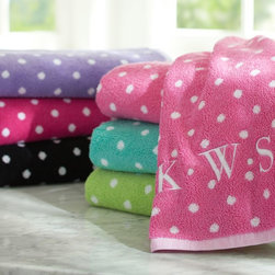 Dottie Bath Towels - These luxurious Jacquard-woven towels in a fun polka-dot print make a hot shower even more inviting.