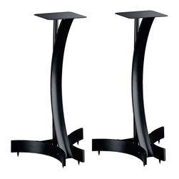 "Bello - Bello Steel Speaker Stands-Titanium - Bello - Speaker Stands - SP224T - Distinctive 24"" tall steel frame design in elegant Black finish. Hook-and-loop adhesive strips included for securely mounting speakers. Features wire management. Flat and spiked feet are included for carpet or hardwood floor use.Features:"