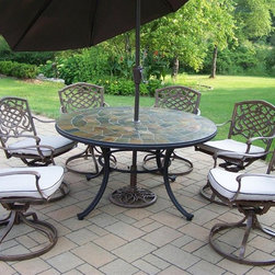 Oakland Living - Stone Art 9-Pc Round Outdoor Dining Set - Includes table, six swivel arm chairs with cushions, tilting umbrella and umbrella stand. Fade, chip and crack resistant. Solid and sturdy yet trendy designs. Brass hardware. Warranty: One year limited. Made from natural stone and rust free cast aluminum. Hardened powder coat finish in antique bronze. Minimal assembly required. Table: 54 in. Dia. x 29 in. H. Swivel chair: 23 in. W x 17.5 in. D x 38 in. H (66 lbs.). Umbrella: 108 in. L x 108 in. W x 100 in. H (45 lbs.)Our stone art dining sets will be a beautiful addition to your patio, balcony or outdoor entertainment area. Stone art dining sets are perfect for any small space or to accent a larger space. The Oakland Stone Art Collection combines natural stone and modern designs giving you a rich addition to any outdoor setting.