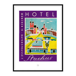 Studio Eight - HOTEL STACHUS, Munich, Golden Age of Travel Vintage Art Restoration Series - HOTEL STACHUS, MUNICH.