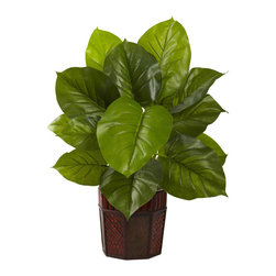 Nearly Natural - Large Leaf Philodendron with Decorative Planter (Real Touch) - Stately and dignified, this large leaf Philodendron is the ideal decoration for anywhere a touch of class is needed. It's a large piece (28'), with large leaves, giving an almost prehistoric look. For added realism, this is a 'real touch' offering, which means the leaves feel as real as they look. The entire plant comes in a decorative planter, completing the look. Perfect for both home and office.