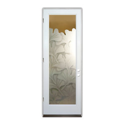 Sans Soucie Art Glass (door frame material Plastpro) - Glass Front Entry Door Sans Soucie Art Glass Gingko Leaves 2D - Sans Soucie Art Glass Front Door with Sandblast Etched Glass Design. Get the privacy you need without blocking light, thru beautiful works of etched glass art by Sans Soucie! This glass is semi-private.  (Photo is view from outside the home or building.)  Door material will be unfinished, ready for paint or stain.  Bronze Sill, Sweep.  Satin Nickel Hinges. Available in other finishes, sizes, swing directions and door materials.  Tempered Safety Glass.  Cleaning is the same as regular clear glass. Use glass cleaner and a soft cloth.