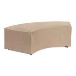 Howard Elliott - Microsuede Universal Radius Bench - Create sleek, modern seating arrangements for bars, lobbies or restaurants with our Radius Bench. It features a dramatic arced shape. Place 2 or more together for a dramatic seating display. Take your seating arrangement a step further by pairing it up with the coordinating InCurve and Round Ottoman!