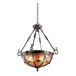 KICHLER - KICHLER 42229TRZ Marchesa European Traditional Inverted Pendant Light - The Marchesa(TM) Collection features European inspired silhouettes cast in a soft Terrene Bronze finish. The ornamental basket design is intricately detailed with swirling textures and botanical accents. Make a dramatic statement with this 3 light inverted pendant with Piastra glass. Uses 3 - 100W max or 3 - 23-30W CFL bulbs.