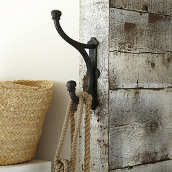 """Ballard Designs - Calverie Hook - Embossed with """"Calverie Ironworks 1842"""" detail. Outdoor-safe. Our Calverie Hook has the look of a found antique and makes a grand statement in the entry, bath or beside the pool. And it's hefty enough to hold a heavy wet coat, beach towel or bathrobe. Hand crafted of aluminum with an Antique Bronze finish. Calverie Hook features:. ."""