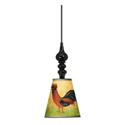 "Giclee Gallery - French Rooster 7 1/2"" Wide Black Mini Pendant - With a folksy design, the French Rooster giclee print shade of this black mini pendant light is the epitome of country charm. This mini pendant design is a balance of curves and geometric simplicity. It features a metal shade wrapped with an exclusive giclee printed pattern. The interior of the shade is painted white helping to reflect the light. A black finish round metal canopy completes the look. Includes a black 15 foot cord allowing you to adjust the hang height. U.S. Patent # 7,347,593."