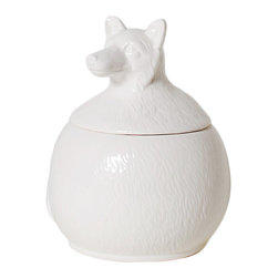 Canid Canister - Conceal your favorite treasures in this charming ceramic canister, or offer the Canid Canister up as a unique and fun gift. Add a whimsical touch to your dresser or vanity. The playful lid, shaped into a crafty fox, is sure to bring a smile to your face, wherever it is placed.