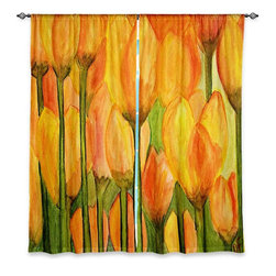 """DiaNoche Designs - Window Curtains Unlined - Dora Ficher Tulips - Purchasing window curtains just got easier and better! Create a designer look to any of your living spaces with our decorative and unique """"Unlined Window Curtains."""" Perfect for the living room, dining room or bedroom, these artistic curtains are an easy and inexpensive way to add color and style when decorating your home.  This is a tight woven poly material that filters outside light and creates a privacy barrier.  Each package includes two easy-to-hang, 3 inch diameter pole-pocket curtain panels.  The width listed is the total measurement of the two panels.  Curtain rod sold separately. Easy care, machine wash cold, tumbles dry low, iron low if needed.  Made in USA and Imported."""