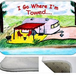 """usa - Camper I Go Where I'm Towed Bath Mat, 30"""" X 20"""" - Bath mats from my original art and designs. Super soft plush fabric with a non skid backing. Eco friendly water base dyes that will not fade or alter the texture of the fabric. Washable 100% polyester and mold resistant. Great for the bath room or anywhere in the home. At 1/2 inch thick our mats are softer and more plush than the typical comfort mats. Your toes will love you."""