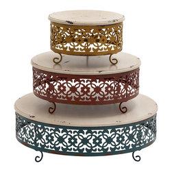 Simply Unique Wood Metal Cake Stand, Set of 3 - Description:
