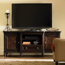 Tommy Bahama by Lexington Home Brands Royal Kahala Maui Entertainment Console - Need a handsome counterpart for your new LCD television? Look no further than the Tommy Bahama Royal Kahala Maui Entertainment Console! Its wide display surface is perfect for nearly any modern flat-panel television and features ample storage in its compact design. The sturdy frame is built from a combination of fine hardwood solids and select mahogany veneers. An open storage compartment (with an adjustable shelf) makes a perfect perch for media players, game consoles, and stereo receivers with a storage drawer beneath for movies, remotes, controllers, and more. Each of the two doors conceals a storage cabinet with an adjustable shelf behind and features a split bamboo pattern.About Lexington Home BrandsFounded in 1903 in High Point, NC, Lexington Home Brands has become a globally known manufacturer and marketer of unique home furnishings. They are an industry leader in design, style, and quality products. Their product line consists of upholstered and hardwood furniture under recognized brands such as Lexington, Tommy Bahama, Sligh, and Henry Link Trading Co.. Lexington Home Brand's intentions and aspirations are to create exclusive designs and styles that accommodate the traditional, contemporary, casual, and formal decors of their customers' homes.