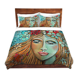 DiaNoche Designs - Duvet Cover Twill by Denise Daffara - Whispers On A Summers Breeze - Lightweight and soft brushed twill Duvet Cover sizes Twin, Queen, King.  SHAMS NOT INCLUDED.  This duvet is designed to wash upon arrival for maximum softness.   Each duvet starts by looming the fabric and cutting to the size ordered.  The Image is printed and your Duvet Cover is meticulously sewn together with ties in each corner and a concealed zip closure.  All in the USA!!  Poly top with a Cotton Poly underside.  Dye Sublimation printing permanently adheres the ink to the material for long life and durability. Printed top, cream colored bottom, Machine Washable, Product may vary slightly from image.