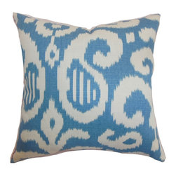 """The Pillow Collection - Hohenems Ikat Pillow Aqua 18"""" x 18"""" - Update your home decors by propping up this ikat throw pillow. This accent pillow features the traditional ikat print pattern in aqua blue and white color palette. This square pillow brings a splash of relaxing color to your interiors. Use this down-filled pillow to bring comfort and style to your sofa or bed. Blend in other patterns like geometric, animal or stripes for an eclectic decor style. This decor pillow is made from a blend of 95% cotton and 5% linen fabric. Hidden zipper closure for easy cover removal.  Knife edge finish on all four sides.  Reversible pillow with the same fabric on the back side.  Spot cleaning suggested."""