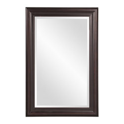 """Howard Elliott - George Oil Rubbed Bronze Rectangular Mirror - This rectangular frame features a simple classic style and is finished in a lovely oil rubbed bronze Frame Dimensions: 24""""W X 36""""H X 1""""D; Mirror Dimensions: 18""""W X 30""""H; Finish: Oil Rubbed Bronze; Material: Wood; Beveled: Yes; Shape: Rectangular; Weight: 18; Included: Brackets, Ready to Hang Vertically or Horizontally"""