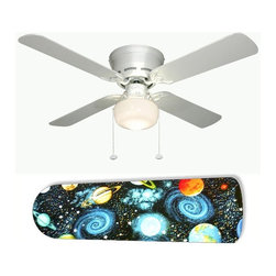 """Spaced Out Outer Space 42"""" Ceiling Fan and Lamp - 42-inch 4-blade ceiling fan with a dome lamp kit that comes with custom blades. It has a white flushmount fan base. It has an energy efficient 3-speed reversible airflow motor for year long comfort. It comes with complete installation/assembly instructions. The blades can be cleaned with a damp cloth. It is made with eco-friendly/non-toxic products. This is brand new and shipped in the original box. This is not a licensed product, but is made with fully licensed products. Note: Fan comes with custom blades only."""