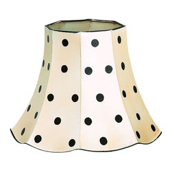 Black Polka Dot Lamp Shade Set of 4 - *Crème with Black Polka Dot Scalloped Edge Tole Lamp Shade Set of 2.