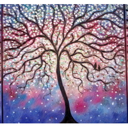 Blue - Violet Folk Tree And Lovebirds (Original) by Jean Vadal Smith Bentson - Lovely colors of blues, purples, violet , pink  , rusty  brown make up  background colors