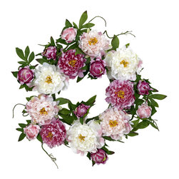 "Nearly Natural - 22"" Peony Wreath - Celebrate the colors and good feelings of springtime all year long with this stunning Peony Wreath. With a virtual cornucopia of warm, vibrant hues and differing textures, this is THE perfect wreath for those who appreciate the delicate beauty that nature provides. The wispy green leaves and stems provide the perfect visual offset, making this an ideal display piece for all seasons!"