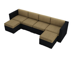 Harmonia Living - Urbana 6 Piece Wicker Patio Sectional Set, Heather Beige Cushions - If you enjoy outdoor entertaining, you and your guests will appreciate this six-piece sectional set. You can configure the pieces to suit your needs, and the furniture is crafted from textured resin wicker that looks like the real thing but is much more durable. The all-weather chair and sofa cushions are both durable and good looking. Available in tan and henna.