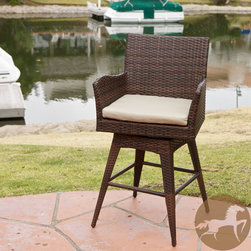 Christopher Knight Home - Braxton PE Swivel Armed Barstool - Add seating to your patio with this outdoor swivel barstool. This handsome chair features durable woven PE wicker and a sturdy iron frame, making it able to withstand different types of weather. Its neutral color scheme ensures it blends into any decor.