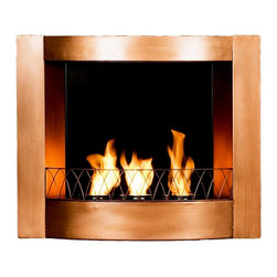 Holly & Martin - Hallston Wall-Mount Fireplace - Complement any spot in your home interior with this sophisticated wall mount fireplace. Constructed from sturdy metal which is impeccably dressed in a brushed copper finish, you can easily install the gel fueled fireplace without any technician assistance. Grace your home with striking piece. Holds three cans of fireglo gel fuel. Hangs on wall just like a picture. 0.85 mm Metal sheet. No assembly required. 27.25 in. W x 5.5 in. D x 22.5 in. H (25 lbs.)Enliven any space with this wall mount gel fuel fireplace. This piece is small enough to go anywhere and can be hung as easily as a picture. The copper finish works well with all decorating styles and themes. This wall mount fireplace will hold up to 3 cans of gel fuel providing a rich fiery glow perfect for relaxation. Each can lasts up to 3 hours on a single burn and puts off up to 3,000 BTU's. Gel fuel must be purchased separately. This wall mount fireplace also makes a convenient and unique space for burning and displaying candles simply by placing the included snuffer cover on top of the gel fuel can openings.
