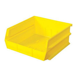 """Triton Products - Stacking, Hanging, Interlocking Polypropylene Bins, 10 7/8"""" X 11"""" X 5"""" Yellow - The 3-235 series is our second largest and widest Stacking, Hanging, Interlocking Polypropylene Bin system. They are commercial grade high density polypropylene and are available in yellow, red and blue. Unique dual interlocking channel system slides and locks bins together guaranteeing bins will not collapse, cave in or topple into one another."""