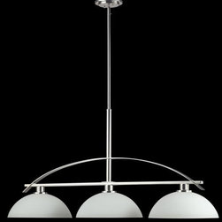 Z-Lite - Z-Lite 605-3 Ellipse 3 Light Island Light in Chrome - Gleaming chrome offsets the soft light created by the matte opal glass shades sitting atop the falling arched arms. Beautiful chrome arcs flow across the bottom of these fixtures to create a soft contemporary look.