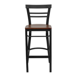 """FlashFurniture - Hercules Series Ladder Back Metal Restaurant Bar Stool - Features: -Heavy duty restaurant bar stool. -Black powder coated frame finish. -Ladder style back. -Black vinyl upholstered seat. -18 Gauge steel frame. -75"""" Thick plywood seat. -Foot rest rung. -Two curved support bars. Dimensions: -Seat: 16.75"""" W x 16.5"""" D. -Back size: 11"""" H x 17"""" W. -Overall: 41.75"""" H x 17"""" W x 19"""" D, 18 lbs."""