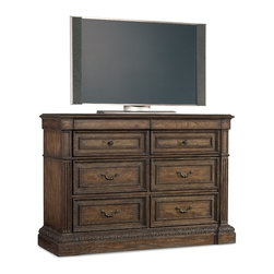 Hooker Furniture - Media Chest - Invite this bachelor into your bedroom. It's dark and handsome, with plenty of room for your jewelry, media equipment and even your dainty underthings, thanks to cedar lined bottom drawers. Light up your nights like never before.