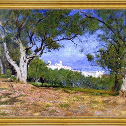 "William Lamb Picknell-16""x20"" Framed Canvas - 16"" x 20"" William Lamb Picknell View of Provence (also known as Vue de Provence) framed premium canvas print reproduced to meet museum quality standards. Our museum quality canvas prints are produced using high-precision print technology for a more accurate reproduction printed on high quality canvas with fade-resistant, archival inks. Our progressive business model allows us to offer works of art to you at the best wholesale pricing, significantly less than art gallery prices, affordable to all. This artwork is hand stretched onto wooden stretcher bars, then mounted into our 3"" wide gold finish frame with black panel by one of our expert framers. Our framed canvas print comes with hardware, ready to hang on your wall.  We present a comprehensive collection of exceptional canvas art reproductions by William Lamb Picknell."