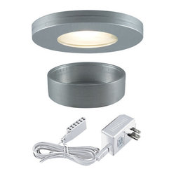"Jesco Lighting - Jesco Lighting KIT-PK501-BA-A Xenon Straight Edged Slim Under Cabinet Disk Kit - Jesco Lighting has built a solid reputation on quality, service and value. An expanded product offering includes a broad range of indoor and outdoor lighting products. All are available in various energy-efficient lamp sources and options exist for a multitude of power supplies and accessories allowing you to customize according to your project needs.Xenon straight edged slim disk with frosted glass lens kit - brushed aluminum. Xenon and halogen slim disks offer small-scale, slender, surface-hugging design in high output low-energy sources that provide luminous true white light. Constructed of machined aluminum, fixtures measure less than 3"" in diameter, and can either be recessed or surface mounted. Includes 3 fixtures and a wall plugged power supply. Slim disks include 72"" Teflon insulated wire and amp connectors for quick connections to transformers the occasional re-lamping is made easy by simply twisting off the trim ring. Please note: slim disks are not intended for use in wall or ceiling applications.Features:"