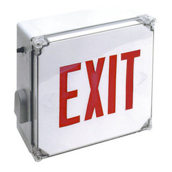 Elco - Elco EE21RW Weatherproof LED Exit Sign - Elco EE21RW Weatherproof LED Exit Sign with Red Letters and Battery BackupElco Lighting's high quality, affordable Exit and Emergency fixtures provide a variety of different styles and benefits designed to meet the requirements of any application. Dual voltage options (120 and 277 VAC), brown-out activation (unit automatically switches to emergency mode if supply voltage drops below 80%), automatic low-voltage disconnect, thermal protection, short circuit protection and reverse polarity protection are just a few of the important standardized features of these products.Features: