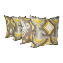 Land of Pillows - Dwell Studios Batavia Citrine Ikat and Futura Dandelion Throw Pillow Set of 4, 1 - Fabric Designer - Dwell Studio