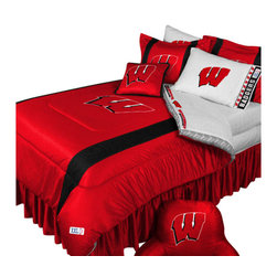 Store51 LLC - NCAA Wisconsin Badgers Bedding Set College Football Bedding Set, Full - Features: