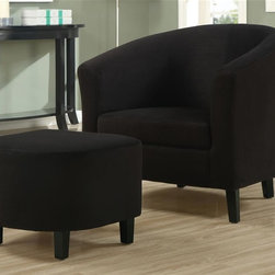 Monarch Specialties - Accent Chair w Ottoman - (Black) - Choose Upholstery: BlackContemporary style. Round back. Flared track arms. Barrel shape. Slender wood legs. Plush boxed seat cushion. Padded microfiber upholstery. 29.5 in. W x 28.5 in. D x 29.5 in. H (49 lbs.)Whether standing alone or used to accent a full living room ensemble, this chair will bring optimal comfort and exceptional style to your home.