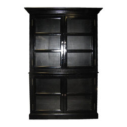 NOIR - Noir Furniture - Colonial Glass Cabinet in Hand Rubbed Finish, Black - Colonial Collection China Cabinet