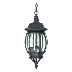 Nuvo Lighting - Central Park 3 Light Textured Black With Clear Beveled Panels Hanging Lantern - Ensure that you do not skip a step when you walk to your front door at night with this set of bright outdoor hanging lanterns. The lanterns feature a beautiful design that will give your home a classic touch of class while still providing ample light.