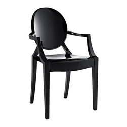 Modway Furniture - Modway Casper Dining Armchair in Black - Dining Armchair in Black belongs to Casper Collection by Modway Combine artistic endeavors into a unified vision of harmony and grace with the ethereal Casper Chair. Allow bursts of creative energy to reach every aspect of your contemporary living space as this masterpiece reinvents your surroundings. Surprisingly sturdy and durable, the Casper Chair is appropriate for any room or outdoor setting. Pure perception awaits, as shining moments of brilliance turn visual vacuums into new realms of transcendence. Set Includes: One - Casper Armchair Armchair (1)