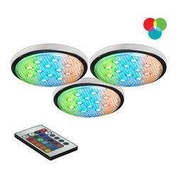 "Bazz Lighting - Bazz Lighting LED103RB RGB Under Cabinet LED Under Cabinet LED Series - Bazz LED103RB Under Cabinet LED Series Three-Light Undercabinet Puck Lights, with RGB LEDs Bazz LED103RB Features:  Product dimensions: 2-1/4"" Diameter Includes (3) LED puck lights Multi-color, 7.2 watt, 30,000 hour LED modules Includes 9.75  power cord with switch 6.75  connection cord also included Surface installation Linkable up to 6 units Cord includes wall plug Each led puck has an 11"" cord for connections Includes hand-held remote control  Founders Guy and Simon Benghozi are the driving force behind BAZZ. As brothers, they help each other design and develop exquisite lighting products. Their creativity, innovative spirit, and taste for modern designs has strongly influenced all of BAZZ's collections throughout the years. From their humble beginnings, designing products on a sketch board, to the computerized production line of today, BAZZ luminaires have always revealed a unique feeling... one that has helped define the Canadian residential lighting industry for over 30 years."