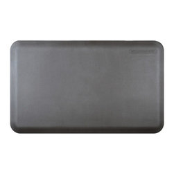 Wellnessmats - Wellness Mats Anti-Fatigue Kitchen / Bathroom Mat 3' x 2' - Grey - Advanced Polyurethane Technology (APT); only available from Welnessmats. Engineered to be tougher, with a strong grip textured surface; heat and stain resistant'No slip, no trip' edges ensure your well being and safety; does not loseThick elastomeric core permanently bonded to outer layer made of polyurethane molecules. Use for kitchens, washrooms, laundry rooms, garage, hobby-room, home gym, etc.  Made in the USA. 7-year warranty.