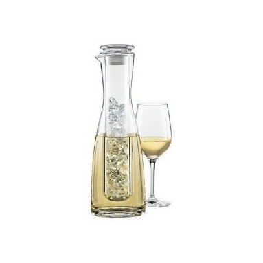 2 Piece Wine Chilling Carafe - As seen on the Today Show New and Improved! Trade wet bottles for cool dry service. Simply put ice in the chilling chamber now with an airtight stopper; insert in the wine-filled carafe now with a spout; and hold the chamber in place as you pour. Keeps pre-chilled wine constantly cool.