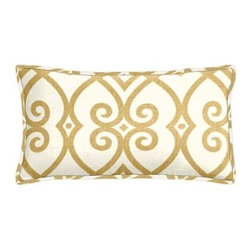 "Cushion Source - Gates Soleil Scroll Lumbar Pillow - The 20"" x 12"" Gates Soleil Scroll Lumbar Pillow features a beautiful scrollwork pattern in brass on a natural background"