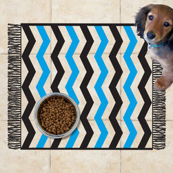 Sniff It Out Designer Pet Mats - Chevron Blue Pet Food Mat, 26 X 20.5 - Premium-quality clear vinyl mats uniquely designed to resemble beautiful art painted directly onto your floor. The smoothness of the vinyl allows for easy cleanup and lays perfectly flat. Sniff It Out Pet Mats make great gifts and will be a conversation piece that your friends and family won't stop talking about. Made in the USA.