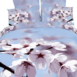 Dolce Mela - 6 Piece 100% Cotton, Floral Duvet Cover Set by Dolce Mela, Queen - Perk up your bedroom's decor with this spectacularly vivid motif of almond flowers against a light-blue sky on this organic bedding ensemble from Dolce-Mela Elite bedding collection. These superb Dolce-Mela bedding sets are crafted with State of the Art reactive printing plates and natural plant dyes on 100% Egyptian cotton and feature exclusive panel designs of Hi-Res prints that retain the vibrant colors for many years of proper washing. Decorate with style or treat a friend with a housewarming gift or bridal shower gift.