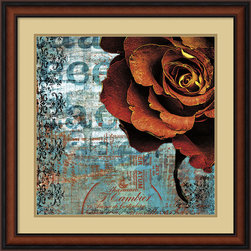 Amanti Art - Graffiti Rose Framed Print by Christina Lazar Schuler - Contrasting soft and hard, warm and cool Graffiti Rose by Christina Lazer Schuler gives a fresh perspective on floral still life.  Add some dynamism to your decor today!
