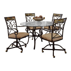 Hillsdale - Hillsdale Pompei 5-Piece Round Dining Table Set with Castered Chairs - Hillsdale - Dinette Sets - 4442DTBCWC - Need some fresh air? The Pompei's elegant open design will provide. This dining set is a highly unique with an intricate solid slate design around the table's edge and chairs. Graceful scrolled silhouettes emerge like flower petals from a central ball finial connecting to elegantly forked S-curved legs. From modern apartment to quaint rustic home this casually sophisticated dining set is sure to suit your decor.